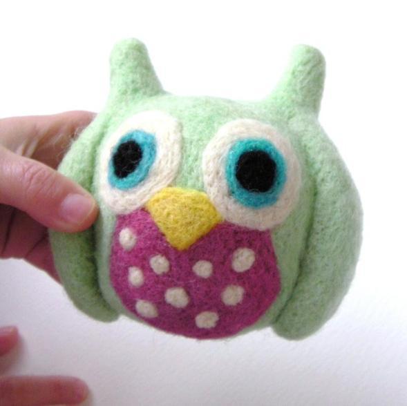 needle felt colorful owl