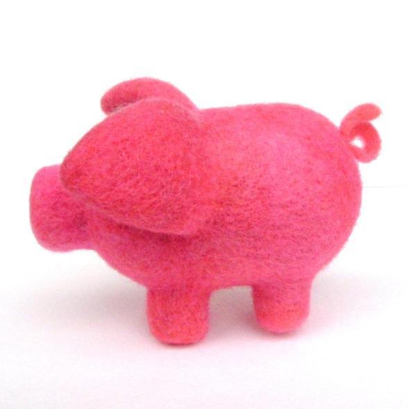 needle felt toy pig