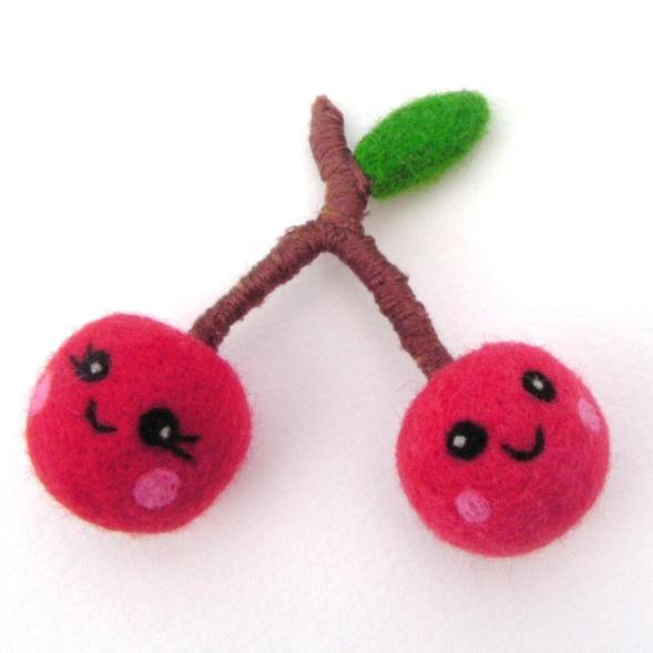 soft needle felted play food, cherries