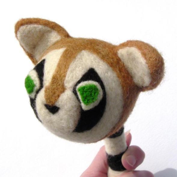 needle felt raccoon