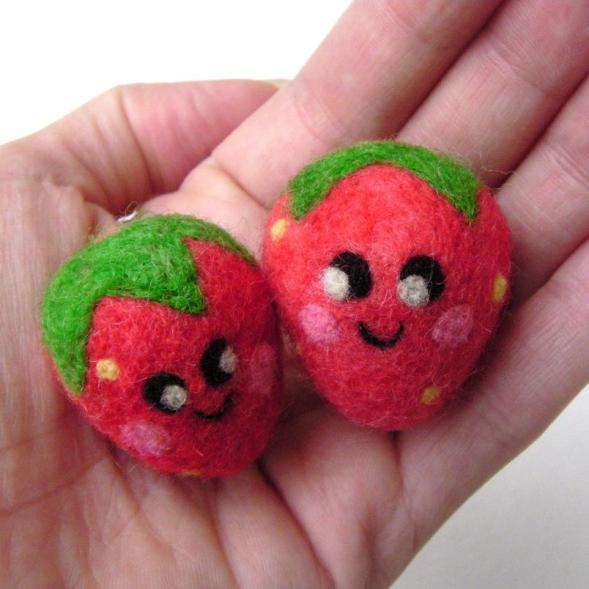 needle felted happy strawberries