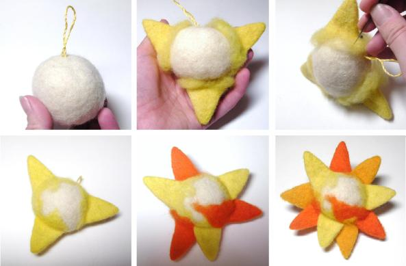 tutorial on needle felting a miniature toy sun