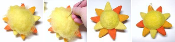 needle felted sun