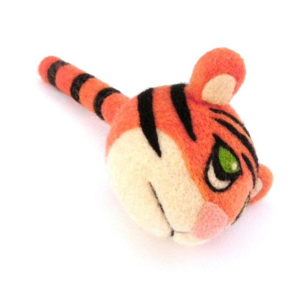 needle felted tiger with tail as handle