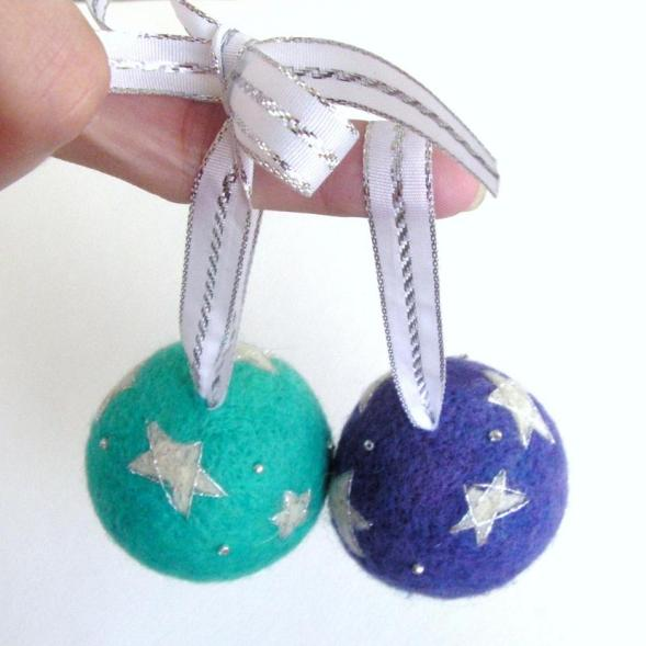 handmade felted ornaments