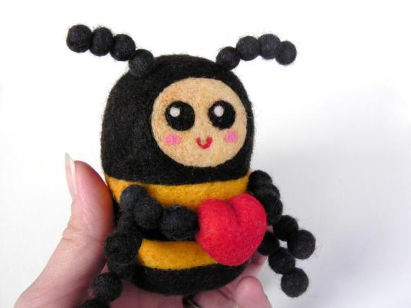 felted bumblebee with heart